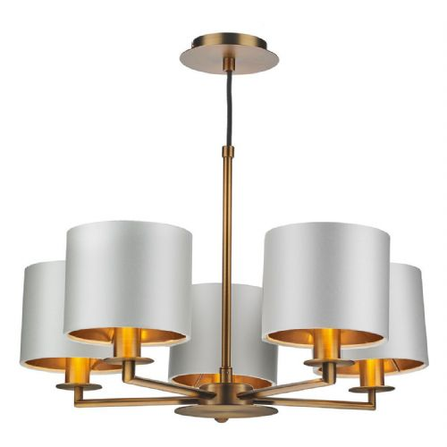 Rex 5Lt Pendant Brass Complete with Shades REX0563 (Choose colour, Hand made, 10-14 day Delivery)